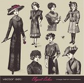 vector set: elegant vintage ladies (and girls) - variety of retro fashion illustrations and portrait
