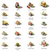 Vector Isometric Travel And Tourism Icons Representing Different Tourism Related Buildings And Facil poster