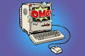Omg Vintage Retro Computer. Pop Art Retro Vector Illustration Kitsch Vintage poster