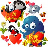 foto of valentines day card  - vector valentine day set - JPG