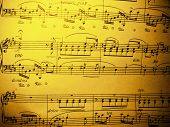 stock photo of chopin  - yellowed page from old printed music sheet of Chopin - JPG