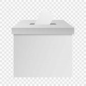 White Election Box Mockup. Realistic Illustration Of White Election Box Vector Mockup For On Transpa poster