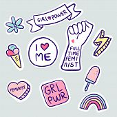 Feminism Slogan And Patches. Vector 80s Style Design. Retro Pop Stickers And Badge. Girl Power. Full poster