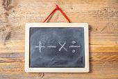 Math Symbols On Blackboard With Frame, Wooden Wall Background poster