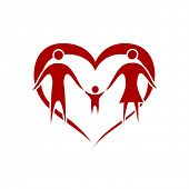 family vector with heart symbol