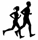 Running Man And Woman Black Silhouette Isolated Vector Illustration. Running Couple, Jogging Couple. poster