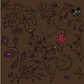The Image Consists Of Plants With Leaves And Flowers. There Is Also A Bee And A Spider Hanging On A  poster