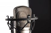 Studio Microphone And Microphone Stand On White Background poster