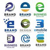 Elegant Letter E Logo Vector Set, Best Modern Elegant Letter E Logo Concept, Letter E Logo poster
