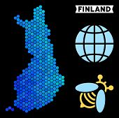 Blue Hexagon Finland Map. Geographic Map In Blue Color Hues On A Black Background. Vector Compositio poster