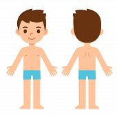 Cartoon Boy In Underwear, Front And Back, Body Part Anatomy Template. Isolated Vector Illustration. poster