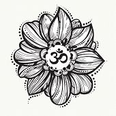 Hand Drawn Ohm Symbol, Indian Diwali Spiritual Sign Om. Lotus Flower Around. High Detailed Decorativ poster