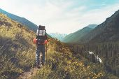 Tourist With Hiking Backpacks In Mountain Hike On Summer Day. Tourist In Beautiful Mountain Landscap poster
