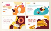 Set Of Web Page Design Templates For Fast Food,  Ice Cream, Pastry Shop, Confectionery, Sweets, Rest poster