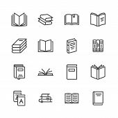 Books Flat Line Icons. Reading, Library, Literature Education Illustrations. Thin Signs For E-book S poster