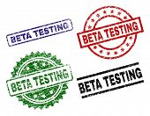 Beta Testing Seal Prints With Distress Style. Black, Green, Red, Blue Vector Rubber Prints Of Beta T poster