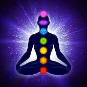 Meditating Human In Lotus Pose. Yoga Illustration. Colorful 7 Chakras And Aura Glow. Shine Backgroun poster