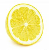 Perfectly Retouched Sliced Half Of Lemon Fruit Isolated On The White Background With Clipping Path.  poster