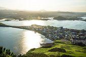 Last Sunrays View From Ilchulbong Peak To The City Of Seongsan, Jeju Island, South Korea poster