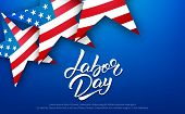 Labor Day. Banner For Usa Labor Day Sale, Promotion, Advertisement. Template With Hand Lettering And poster