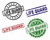 Life Guard Seal Prints With Distress Style. Black, Green, Red, Blue Vector Rubber Prints Of Life Gua poster