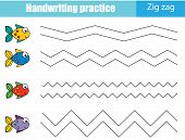 Handwriting Practice Sheet. Educational Children Game, Printable Worksheet For Kids. Tracing Zig Zag poster