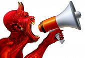 Demon Announcement Concept As A Red Devil Monster Holding A Bullhorn Or Megaphone To Announce News O poster