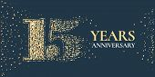 15 Years Anniversary Celebration Vector Icon, Logo. Template Horizontal Design Element With Golden G poster