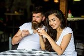 Dreamy Mood. Take A Break To Enjoy Coffee And Dream About Pleasant Things. Couple Enjoy Hot Espresso poster
