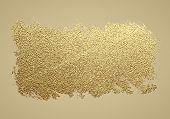 Gold Paint Stroke. Abstract Gold Glittering Textured Art Illustration. Hand Drawn Brush Stroke Desig poster