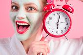Cosmetic Procedures. Close Up Portrait Of Woman With Cosmetic Mask On Face. Cosmetic Mask With Cucum poster