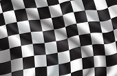 Checkered Flag Pattern Of Car Racing. Vector 3d Background Of White And Black Squares On Waving Flag poster