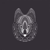 Vector Illustration Of Doodle White Wolf Head On Dark Background. Doodle Wolf Head For T-shirts Desi poster