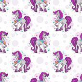 Seamless Pattern With Cute Cartoon Pretty Fantasy Unicorn. Girlish Background Template. Lovely Child poster