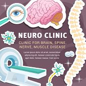 Neuro Clinic Or Neurology Medicine Poster For Brain, Spine Or Nerves And Muscle Diseases. Vector Des poster