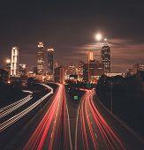Atlanta Midnight Skyline Panoramoc View, Georgia, Usa poster