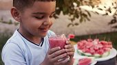 Adorable Little Kid Boy Drinking Healthy Fruits And Vegetables Juice Smoothie In Summer. Happy Child poster