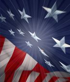 stock photo of american flags  - 3D American flag with bursting ray of light - JPG
