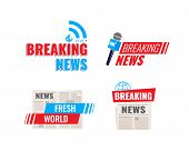 Set Of Logos, Logotypes, Microphone With Fresh Breaking News Broadcast, World Live News In Newspaper poster