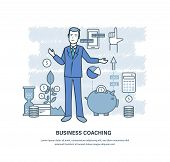 Business Coaching. Corporate Training, Teaching Of Business People, Colleagues, Partners, Online Dis poster