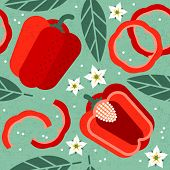 Bell Pepper Seamless Pattern. Whole And Sliced Red Peppers With Leaves And Flowers On Shabby Backgro poster