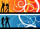 pic of party people  - Silhouettes of people dancing on decorative abstract backgrounds - JPG