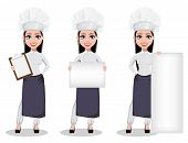 Beautiful Baker Woman In Professional Uniform And Chef Hat, Set Of Three Poses. Cheerful Cartoon Cha poster