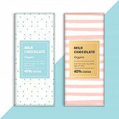 Organic Dark And Milk Chocolate Bar Design. Creative Abstract Choco Packaging Vector Mockup. Trendy poster