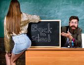 Teacher Indignant Sit Table Chalkboard Background. School Discipline And Behaviour Rules. Student Gi poster