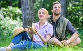 Couple Soulmates At Romantic Date. Romantic Couple Students Enjoy Leisure With Poetry Nature Backgro poster