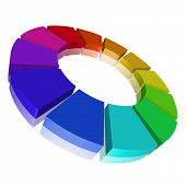 picture of color wheel  - detailed 3d illustration of a chromatic circle - JPG