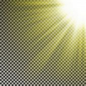 Sun Ray Light On Top Rigth Corner. Transparent Glow Yellow Sunlight Effect Isolated On Checkered Bac poster