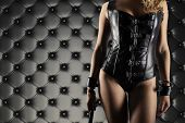 Sensual Provocation Of A Sexy Bdsm Woman With Whip poster
