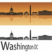 image of washington skyline  - Washington DC skyline in orange background in editable vector file - JPG